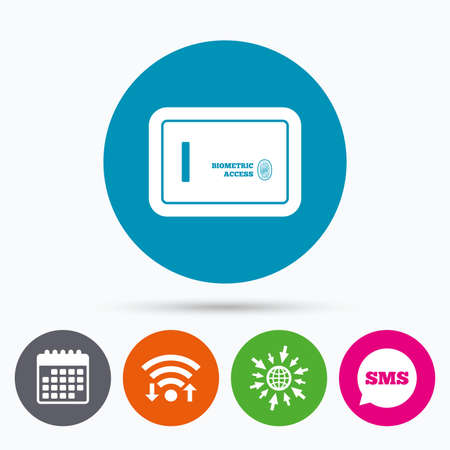wifi access: Wifi, Sms and calendar icons. Safe sign icon. Deposit lock symbol. Biometric access by fingerprint. Go to web globe.