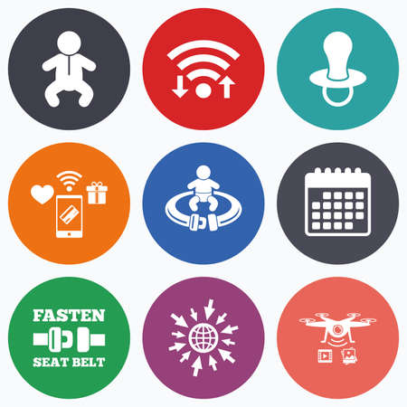 diapers: Wifi, mobile payments and drones icons. Baby infants icons. Toddler boy with diapers symbol. Fasten seat belt signs. Child pacifier and pram stroller. Calendar symbol. Illustration