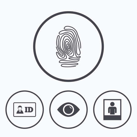 authentication: Identity ID card badge icons. Eye and fingerprint symbols. Authentication signs. Photo frame with human person. Icons in circles.