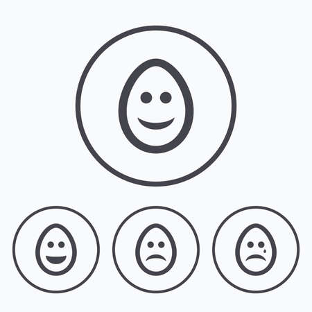 pasch: Eggs happy and sad faces icons. Crying smiley with tear symbols. Tradition Easter Pasch signs. Icons in circles.