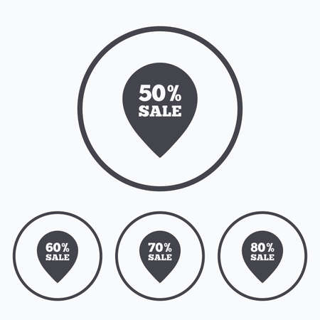 60 70: Sale pointer tag icons. Discount special offer symbols. 50%, 60%, 70% and 80% percent sale signs. Icons in circles.