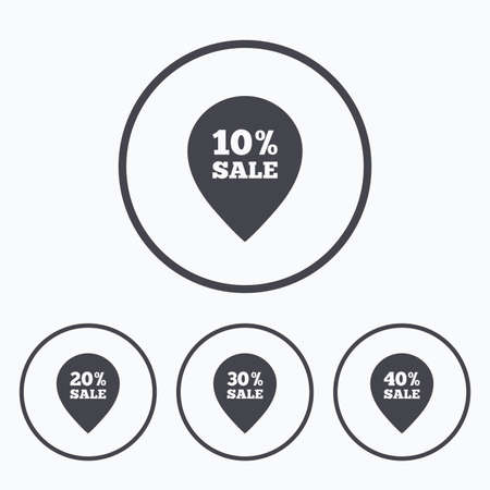 ten best: Sale pointer tag icons. Discount special offer symbols. 10%, 20%, 30% and 40% percent sale signs. Icons in circles.