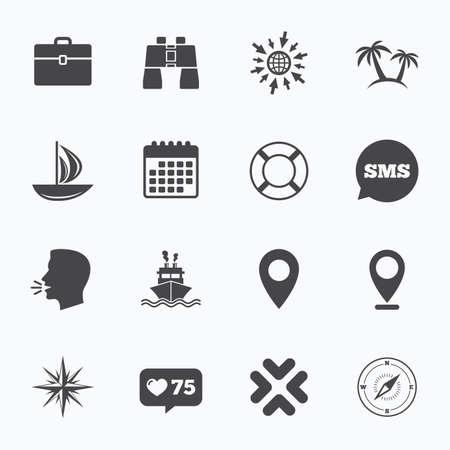 Calendario, vai al web e come il contatore. Icona di crociera, nave e yacht. Viaggi, cocktail e segni di palme. Occhiali da sole, windrose e simboli nuoto. Bolle di discorso di Sms, simboli di discorso.