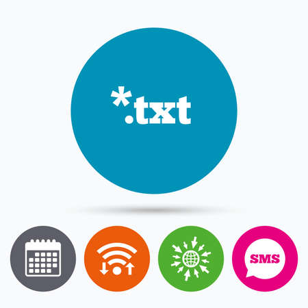 txt: Wifi, Sms and calendar icons. Text file icon. Download txt doc button. Txt file extension symbol. Go to web globe. Illustration