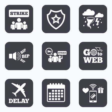 delayed: Mobile payments, wifi and calendar icons. Strike icon. Storm bad weather and group of people signs. Delayed flight symbol. Go to web symbol.