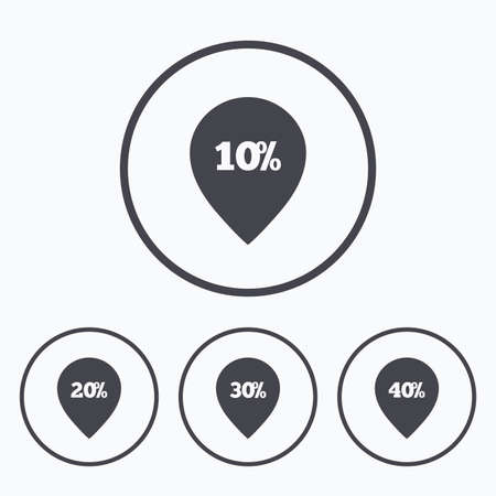 reductions: Sale pointer tag icons. Discount special offer symbols. 10%, 20%, 30% and 40% percent discount signs. Icons in circles. Illustration
