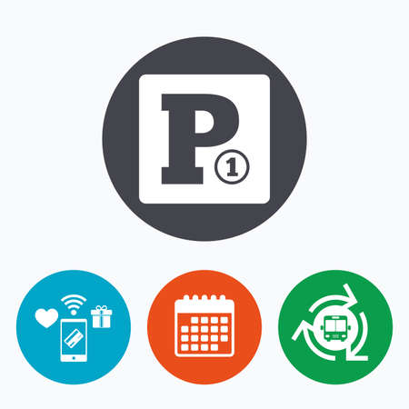 bus parking: Paid parking sign icon. Car parking symbol. Mobile payments, calendar and wifi icons. Bus shuttle.