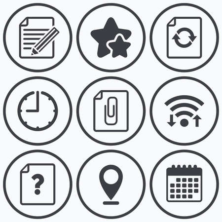 attach: Clock, wifi and stars icons. File refresh icons. Question help and pencil edit symbols. Paper clip attach sign. Calendar symbol.