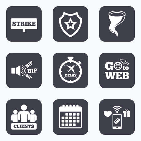 bad weather: Mobile payments, wifi and calendar icons. Strike icon. Storm bad weather and group of people signs. Delayed flight symbol. Go to web symbol.