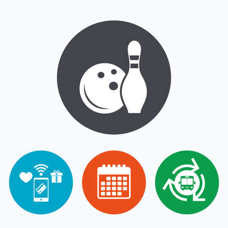 skittle: Bowling game sign icon. Ball with pin skittle symbol. Mobile payments, calendar and wifi icons. Bus shuttle.
