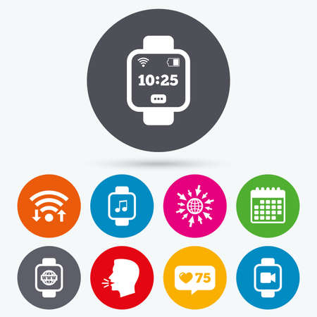 watch video: Wifi, like counter and calendar icons. Smart watch icons. Wrist digital time watch symbols. Music, Video, Globe internet and wi-fi signs. Human talk, go to web.
