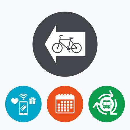 trail sign: Bicycle path trail sign icon. Cycle path. Left arrow symbol. Mobile payments, calendar and wifi icons. Bus shuttle.