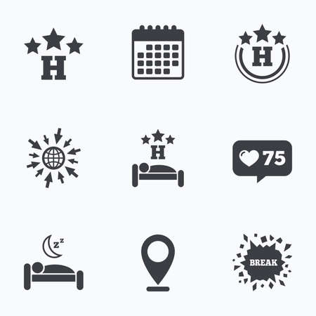 three pointer: Calendar, like counter and go to web icons. Three stars hotel icons. Travel rest place symbols. Human sleep in bed sign. Location pointer.
