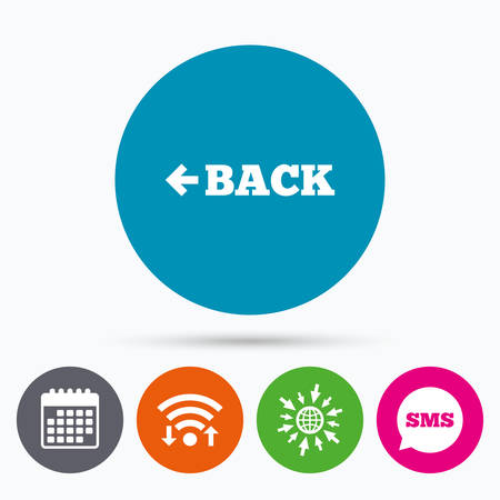 Wifi Sms And Calendar Icons Arrow Sign Icon Back Button