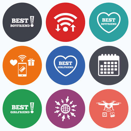 boyfriend: Wifi, mobile payments and drones icons. Best boyfriend and girlfriend icons. Heart love signs. Awards with exclamation symbol. Calendar symbol.