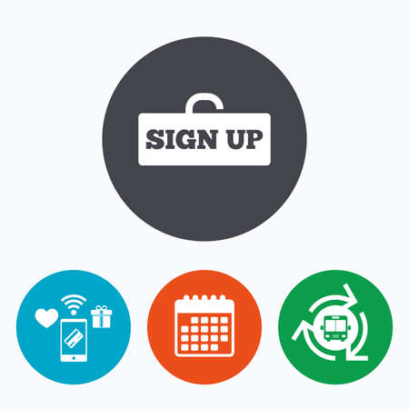 registration mark: Sign up sign icon. Registration symbol. Lock icon. Mobile payments, calendar and wifi icons. Bus shuttle. Illustration