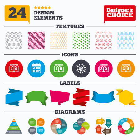 15 20: Banner tags, stickers and chart graph. Cookbook icons. 10, 15, 20 and 25 recipes book sign symbols. Linear patterns and textures. Illustration