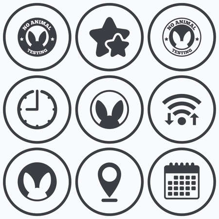 Clock, wifi and stars icons. No animals testing icons. Non-human experiments signs symbols. Calendar symbol.