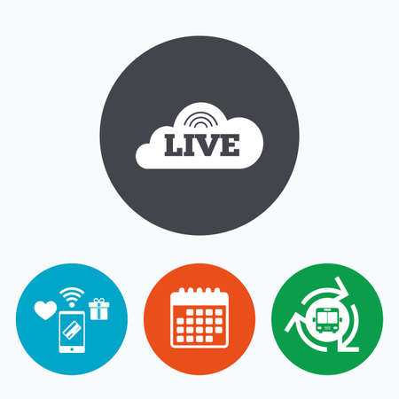 live on air: Live sign icon. On air stream symbol. Mobile payments, calendar and wifi icons. Bus shuttle.