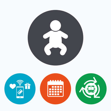 crawlers: Baby infant sign icon. Toddler boy in pajamas or crawlers body symbol. Child WC toilet. Mobile payments, calendar and wifi icons. Bus shuttle. Illustration