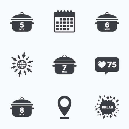 7 8: Calendar, like counter and go to web icons. Cooking pan icons. Boil 5, 6, 7 and 8 minutes signs. Stew food symbol. Location pointer.