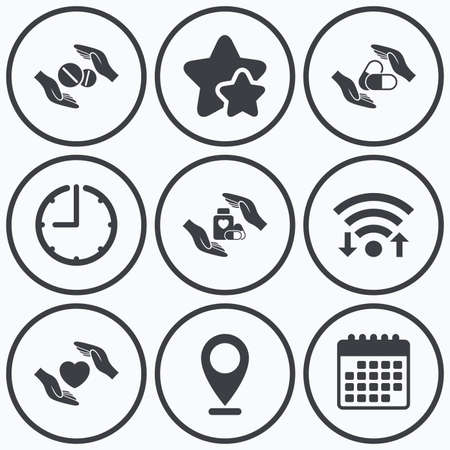 best shelter: Clock, wifi and stars icons. Hands insurance icons. Health medical insurance symbols. Pills drugs and tablets bottle signs. Calendar symbol.