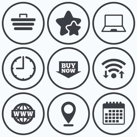 Clock, wifi and stars icons. Online shopping icons. Notebook pc, shopping cart, buy now arrow and internet signs. WWW globe symbol. Calendar symbol.