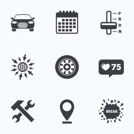 counter service: Calendar, like counter and go to web icons. Transport icons. Car tachometer and automatic transmission symbols. Repair service tool with wheel sign. Location pointer.