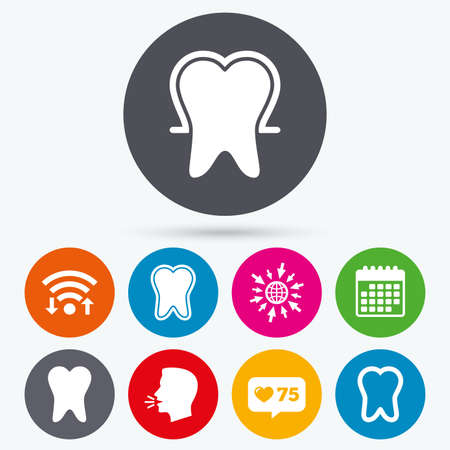 enamel: Wifi, like counter and calendar icons. Tooth enamel protection icons. Dental toothpaste care signs. Healthy teeth sign. Human talk, go to web.