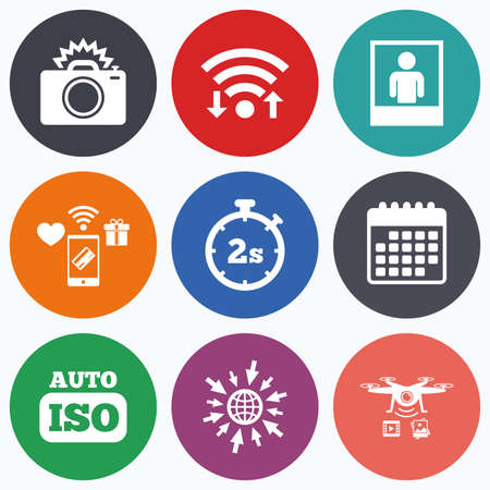 seconds: Wifi, mobile payments and drones icons. Photo camera icon. Flash light and Auto ISO symbols. Stopwatch timer 2 seconds sign. Human portrait photo frame. Calendar symbol.