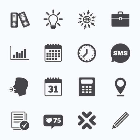 calc: Calendar, go to web and like counter. Office, documents and business icons. Accounting, calculator and case signs. Ideas, calendar and statistics symbols. Sms speech bubble, talk symbols. Illustration