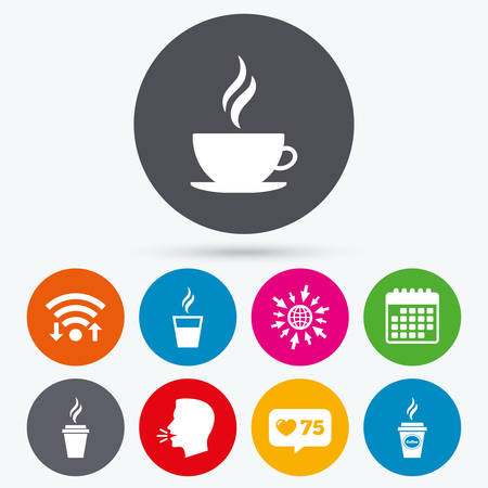takeout: Wifi, like counter and calendar icons. Coffee cup icon. Hot drinks glasses symbols. Take away or take-out tea beverage signs. Human talk, go to web.