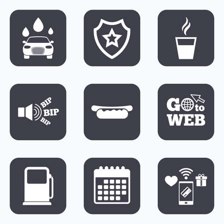 automated: Mobile payments, wifi and calendar icons. Petrol or Gas station services icons. Automated car wash signs. Hotdog sandwich and hot coffee cup symbols. Go to web symbol.