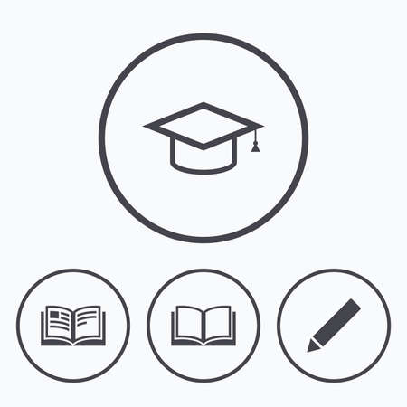 higher: Pencil and open book icons. Graduation cap symbol. Higher education learn signs. Icons in circles.
