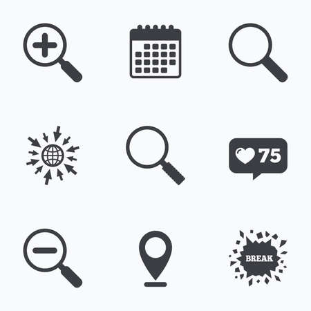 Calendar, like counter and go to web icons. Magnifier glass icons. Plus and minus zoom tool symbols. Search information signs. Location pointer.