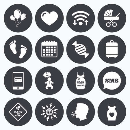 newborn footprint: Wifi, calendar and mobile payments. Pregnancy, maternity and baby care icons. Newborn, strollers and pacifier signs. Footprint, candy and love symbols. Sms speech bubble, go to web symbols.