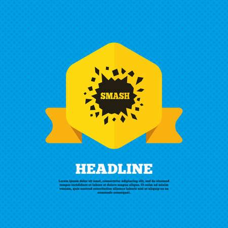smash: Cracked hole icon. Smash or break symbol. Yellow label tag. Circles seamless pattern on back. Illustration