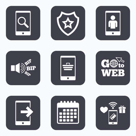 outcoming: Mobile payments, wifi and calendar icons. Phone icons. Smartphone video call sign. Search, online shopping symbols. Outcoming call. Go to web symbol.