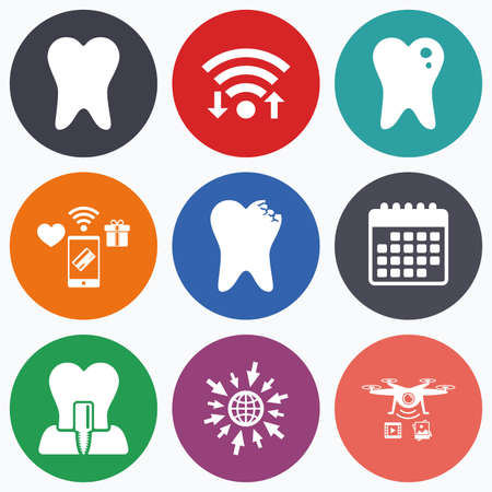 stomatologist: Wifi, mobile payments and drones icons. Dental care icons. Caries tooth sign. Tooth endosseous implant symbol. Calendar symbol.