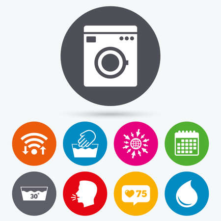 washhouse: Wifi, like counter and calendar icons. Hand wash icon. Machine washable at 30 degrees symbols. Laundry washhouse and water drop signs. Human talk, go to web.