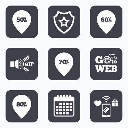 50 to 60: Mobile payments, wifi and calendar icons. Sale pointer tag icons. Discount special offer symbols. 50%, 60%, 70% and 80% percent discount signs. Go to web symbol.