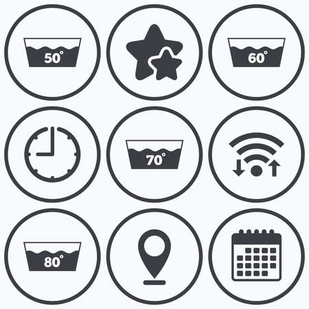 50 to 60: Clock, wifi and stars icons. Wash icons. Machine washable at 50, 60, 70 and 80 degrees symbols. Laundry washhouse signs. Calendar symbol. Illustration