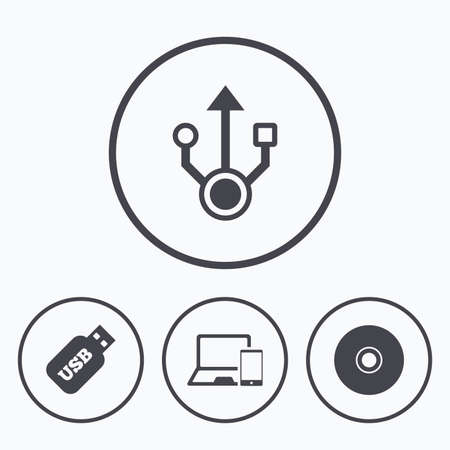 Usb flash drive icons. Notebook or Laptop pc symbols. Smartphone device. CD or DVD sign. Compact disc. Icons in circles.