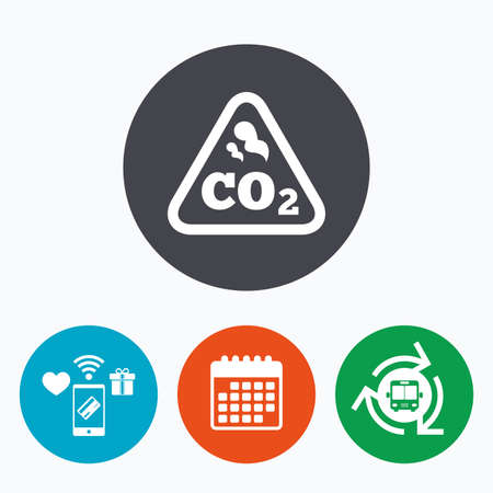 co2: CO2 carbon dioxide formula sign icon. Chemistry symbol. Mobile payments, calendar and wifi icons. Bus shuttle.
