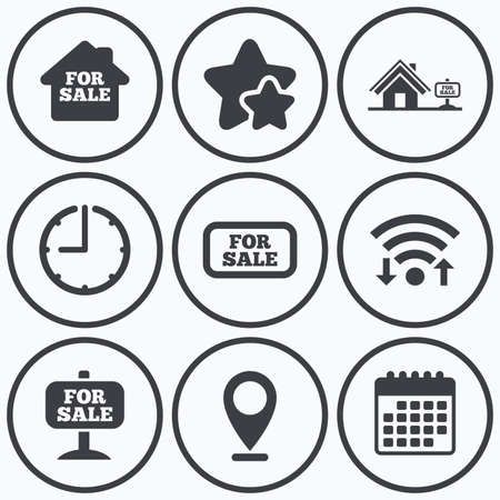 house for sale: Clock, wifi and stars icons. For sale icons. Real estate selling signs. Home house symbol. Calendar symbol.