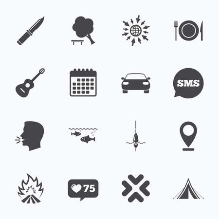 hike: Calendar, go to web and like counter. Hike trip, camping icons. Fishing, campfire and tourist tent signs. Guitar music, knife and food symbols. Sms speech bubble, talk symbols.