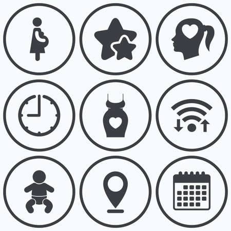 big timer: Clock, wifi and stars icons. Maternity icons. Baby infant, pregnancy and dress signs. Head with heart symbol. Calendar symbol.