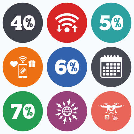 40 50: Wifi, mobile payments and drones icons. Sale discount icons. Special offer price signs. 40, 50, 60 and 70 percent off reduction symbols. Calendar symbol. Illustration