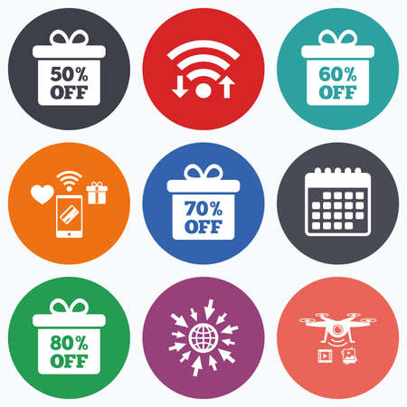 50 to 60: Wifi, mobile payments and drones icons. Sale gift box tag icons. Discount special offer symbols. 50%, 60%, 70% and 80% percent off signs. Calendar symbol.