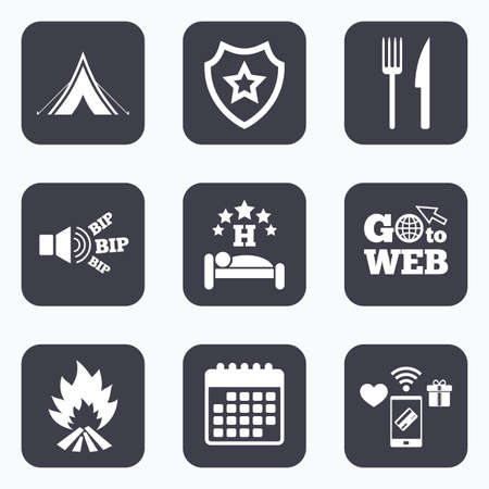 breakfast in bed: Mobile payments, wifi and calendar icons. Food, sleep, camping tent and fire icons. Knife and fork. Hotel or bed and breakfast. Road signs. Go to web symbol. Illustration